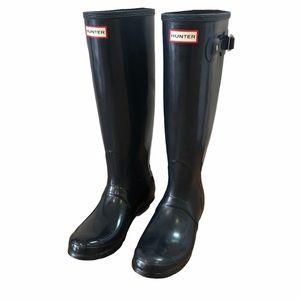 Hunter navy original tall waterproof rain boots 8